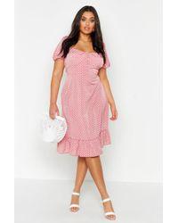 Boohoo - Plus Puff Sleeve Sweetheart Ruffle Hem Dress - Lyst
