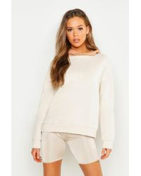 Boohoo - Contrast Hood Embroidered Oversized Hoody - Lyst