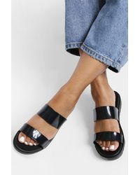 Boohoo Jelly Double Strap Sandals - Black