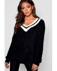Boohoo - Plus V Neck Oversized Sports Stripe Knit Jumper - Lyst