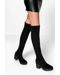 Boohoo Cleated Stretch Over The Knee High Boots - Black
