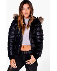 Boohoo - Maya Faux Fur Hood Bubble Coat - Lyst
