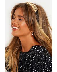Boohoo Womens Gold Flower Premium Embellished Headband - Black