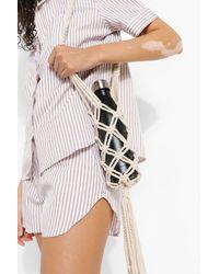 Boohoo Macrame Bottle Holder Bag - Natural