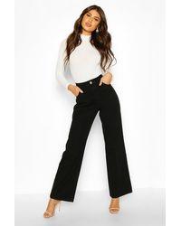 Boohoo Jeans Acampanados De Talle Alto - Negro