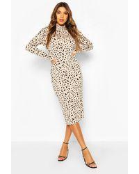 Boohoo - Dalmatian Print Turtle Neck Midi Dress - Lyst