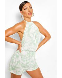 Boohoo Tie Dye Halter Neck Low Back Beach Playsuit - Verde