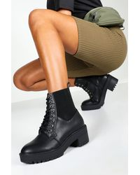 Boohoo Elastic Panel Lace Up Chunky Combat Boots - Black