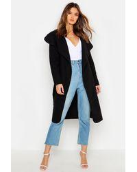 Boohoo Belted Shawl Collar Coat - Black