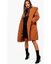 Boohoo Petite Oversized Hooded Teddy Coat - Orange