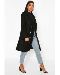 Boohoo Petite Military Wool Look Double Breasted Coat - Black