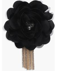 Boohoo Kate Floral Embellished Diamante Chain Brooch - Black