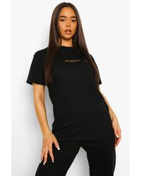 Boohoo Take Your Time Printed Oversized T Shirt - Black