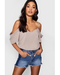 Boohoo - Woven Strappy Open Shoulder Top - Lyst