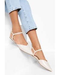 Boohoo Wide Width 2 Part Pointed Ballerina - Natural
