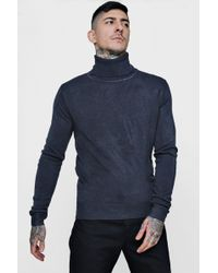 Boohoo Roll Neck Knitted Jumper - Blue