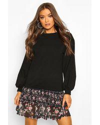 Boohoo Drop Hem Ditsy Floral Layered Sweatshirt Dress - Black