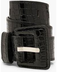 Boohoo Patent Croc Pu Buckle Belt - Negro