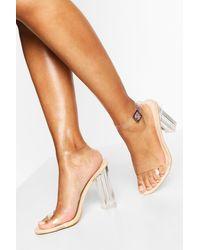 Boohoo Wide Width Clear Heel 2 Part - Natural