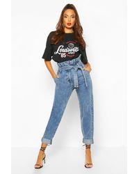 Boohoo Womens Paper Bag Washed Denim Carrot Leg Jeans - Blue
