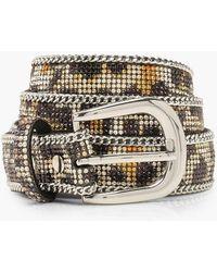 Boohoo Womens Diamante Embellished Chain Trim Leopard Belt - Brown