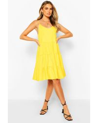 Boohoo Strappy Low Back Tiered Swing Dress - Yellow
