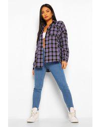 Boohoo Womens Petite Skinny Jeans Mit Fransensaum - Blau