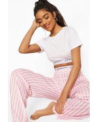 Boohoo Conjunto De Pijama A Rayas De Caramelo Con Cinta Woman - Rosa