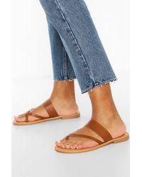 Boohoo Toe Post Sandals - Blue