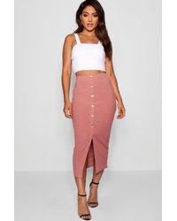Boohoo Womens Ribbed Mock Horn Button Through Midaxi Skirt - Pink - 2