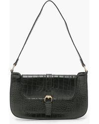 Boohoo Croc Pu Buckle Shoulder Bag - Black