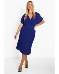 Boohoo Plus Occasion Pleated Wrap Midi Dress - Blue