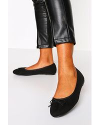 Boohoo Wide Fit Faux Suede Round Toe Ballet Flats - Black