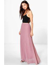 Boohoo Chiffon Pleated Maxi Skirt - Purple