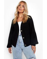 Boohoo Cardigan Plus Size in maglia a punti misti con maniche ampie - Nero