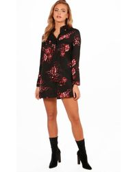 Boohoo - Rose Print Shirt Dress - Lyst
