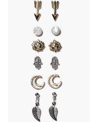 Boohoo Set orecchini misti a bottone con freccia e - Metallizzato