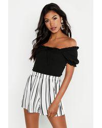 Boohoo Striped Jersey Shorts - White