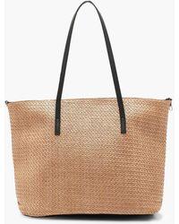 Boohoo - Straw Pu Handle Beach Bag - Lyst