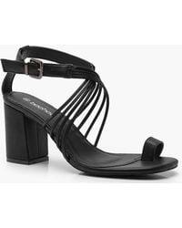 cba897469de9 Boohoo Abbie D Ring Block Heel Wide Fit Sandal in Brown - Lyst
