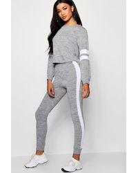 Boohoo Womens Stripe Detail Lounge Set - Gray