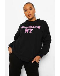 "Boohoo - Womens Plus Sweatshirt In Übergröße Mit ""Brooklyn""-Slogan - Lyst"