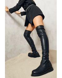 Boohoo Chunky Sole Stretch Over The Knee Boot - Black