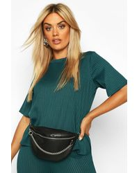 Boohoo Womens Plus Oversized Side Split Jumbo Rib Tee - Green