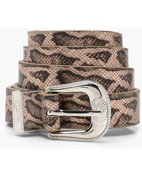 Boohoo - Sarah Snake Western Buckle Belt - Lyst