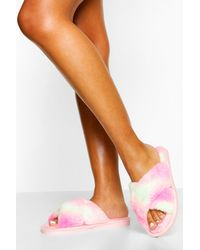 Boohoo Tie Dye Cross Front Slippers - Pink