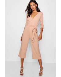 Boohoo - Womens Roll Sleeve Relaxed Culotte Jumpsuit - Lyst