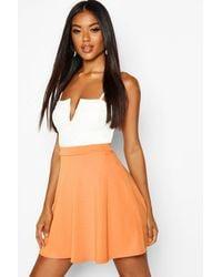 Boohoo Womens Basic Fit And Flare Skater Skirt - Orange