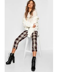Boohoo Plaid Flannel Tapered Trousers - Black