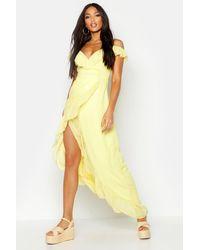 Boohoo Chiffon Cold Shoulder Ruffle Skater Dress - yellow - 40, Yellow - Jaune